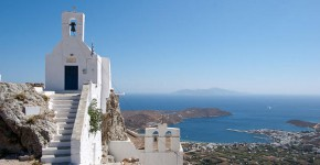 Vista di Chora a Serifos, in Grecia.