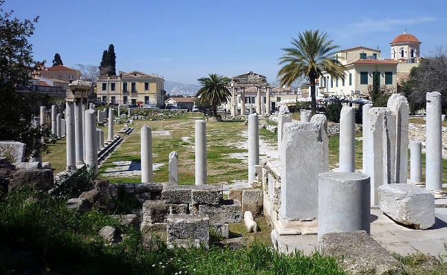 Il sito archeologico dei resti dell'antica Agorà di Atene.