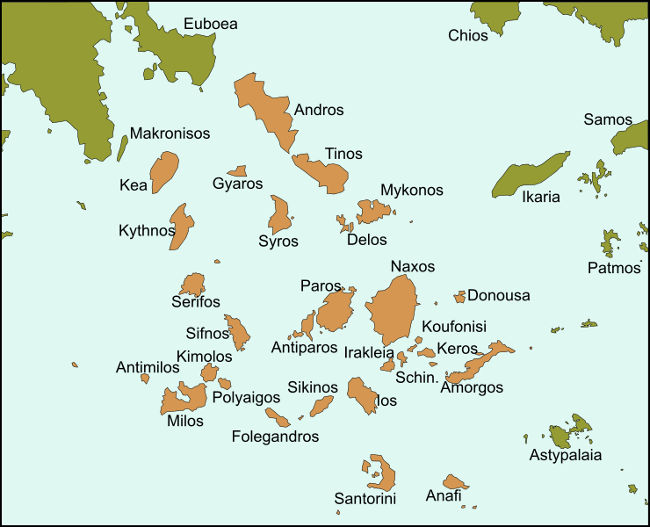 Mappa delle Isole Cicladi in Grecia.