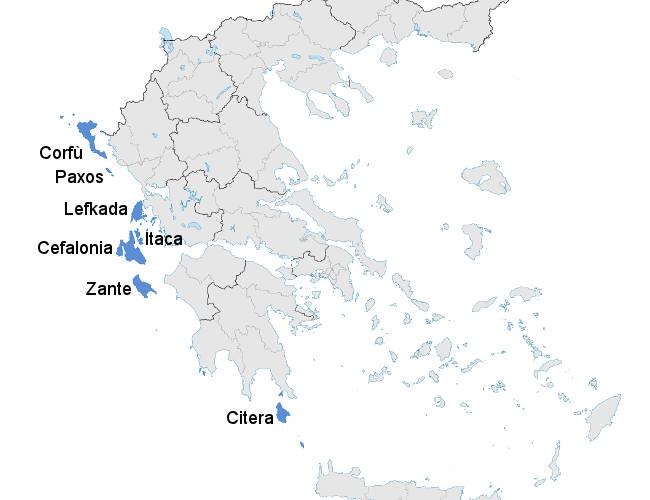 Mappa delle Isole Ionie in Grecia.