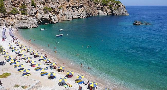 La spiaggia di Achata sull'isola greca di Karpathos.