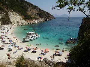 Una meravigliosa spiaggia a Lefkada.