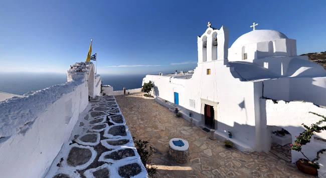 Panorama sull'Egeo dal monastero Zoodochos Pigi di Sikinos.