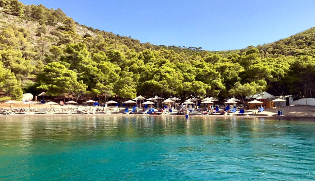 La spiaggia di Bisti con le acque turchesi e la folta pineta alle spalle, nella parte sudoccidentale dell'isola di Hydra.