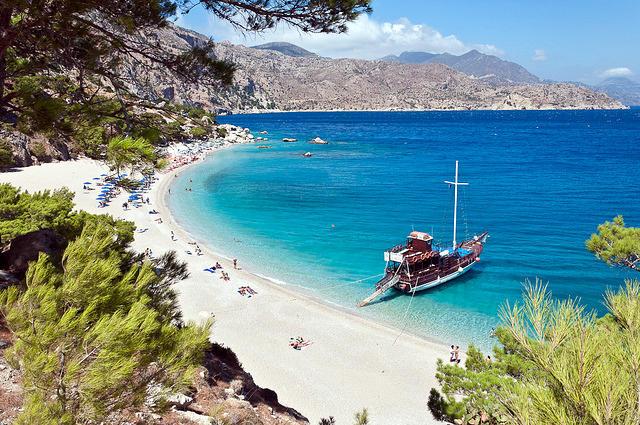 Spiaggia di Apella a Karpathos in Grecia.