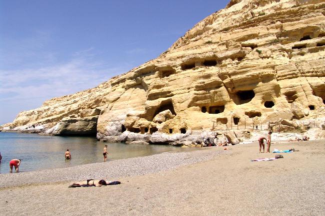 Spiaggia di Matala a Creta.